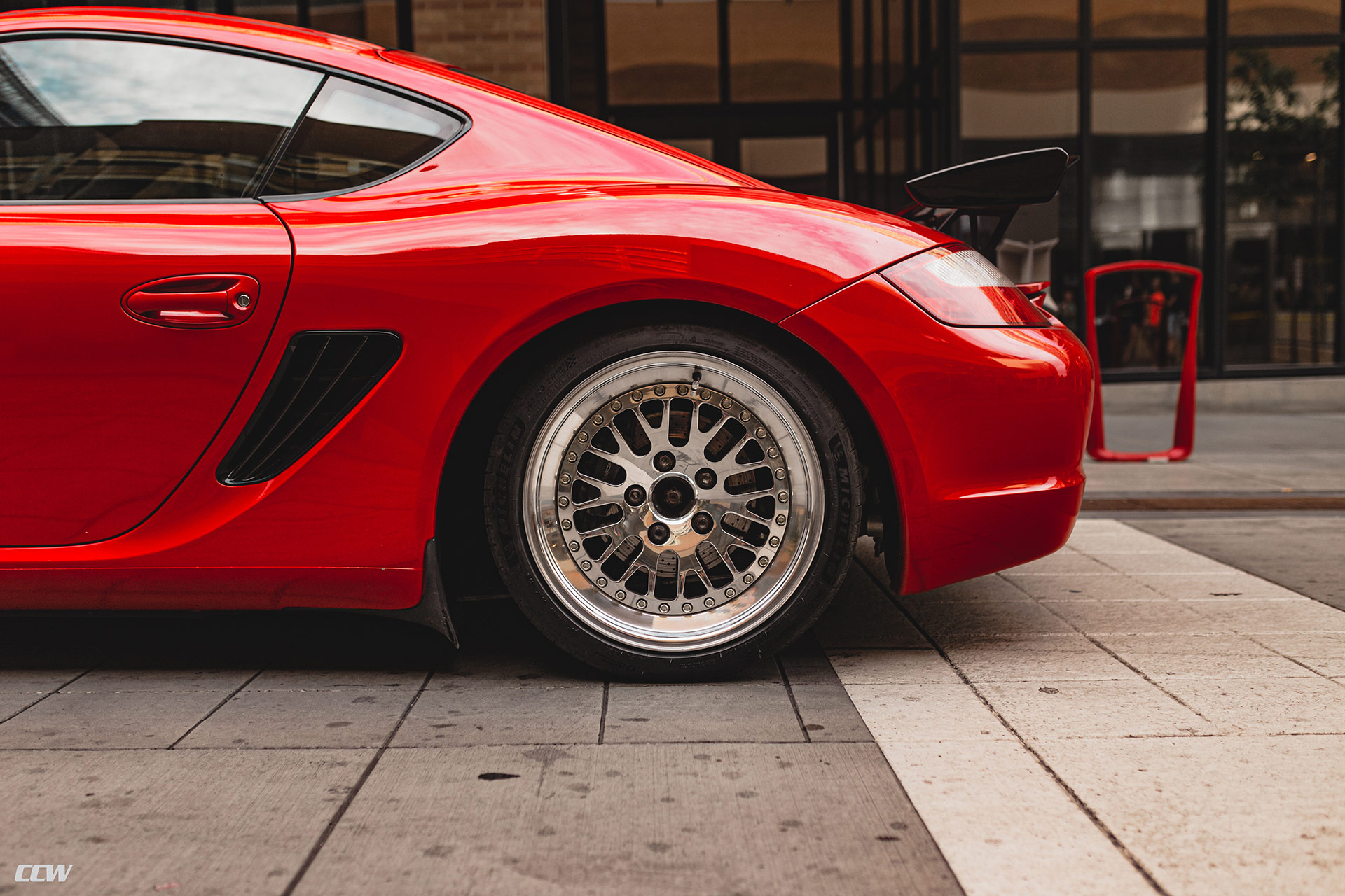 Red Porsche Cayman - CCW Classic Polished Wheels