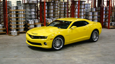 Yellow Chevrolet Camaro SS - CCW SP16A Wheels - Brushed