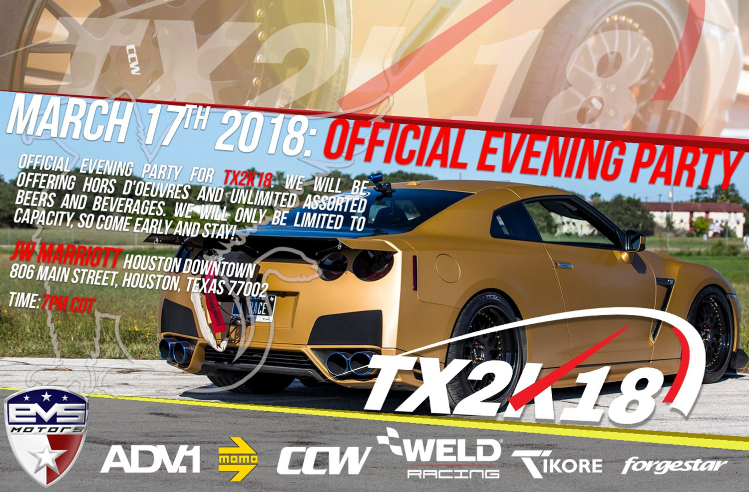 March 17th: Official EVS Motors TX2K18 Evening Party