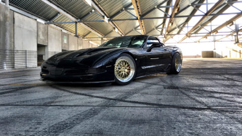 Black Chevrolet C5 Z06 Corvette - CCW LM20 Three-Piece Wheels