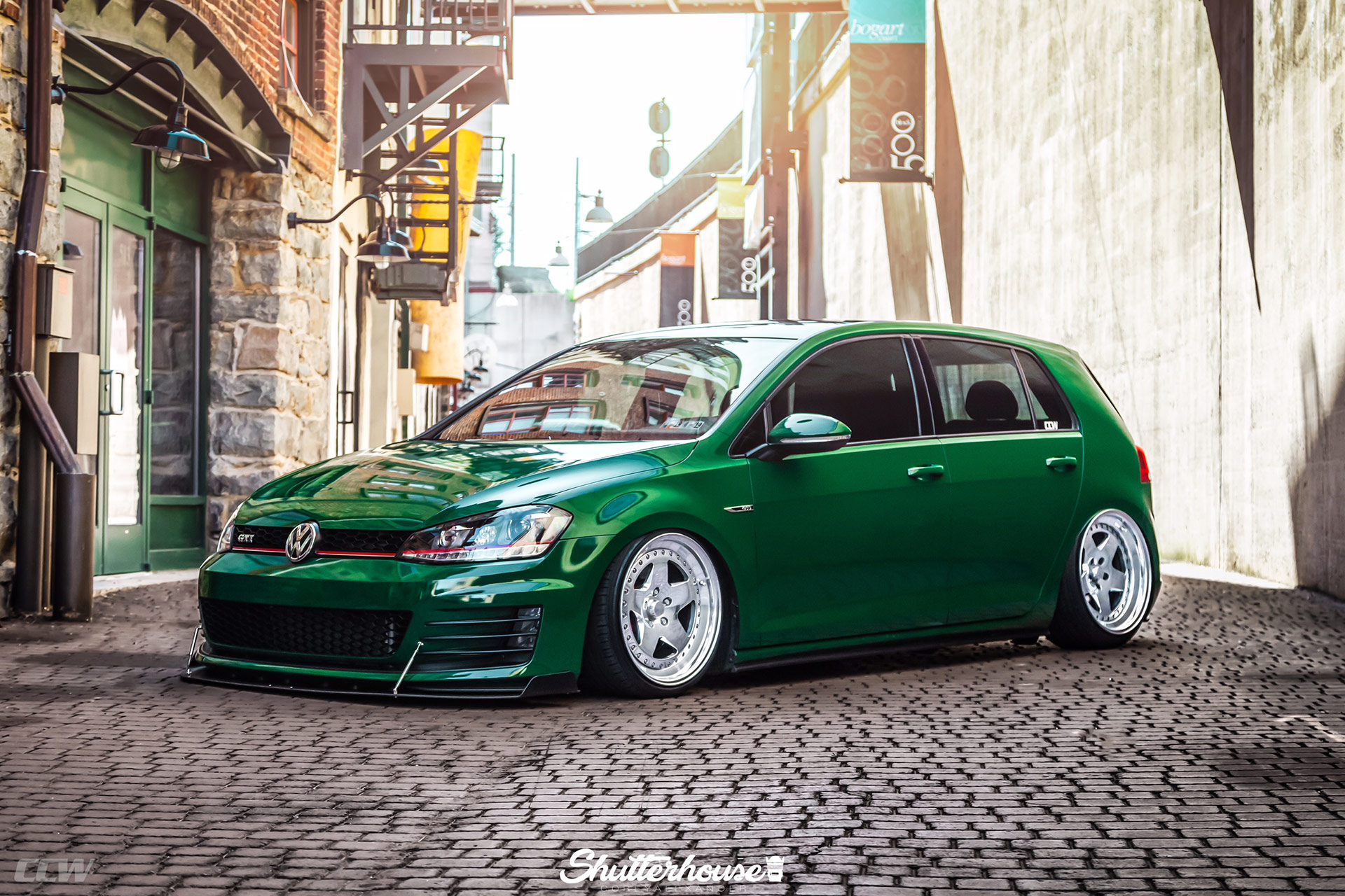 Green Metallic VW Golf MKVI GTI - CCW Classic 5 Wheels