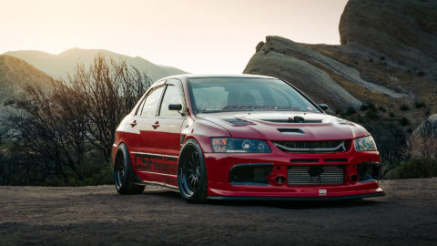 Red Mitsubishi Evo IX - CCW D110 Forged Wheels - Matte Black