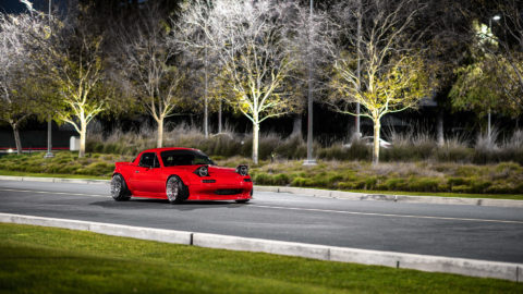 Red Pandem Widebody Mazda Miata - CCW Classic Wheels - Polished Aluminum