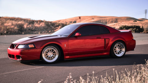 Red Ford Mustang 4th Gen 03 SVT Cobra Terminator - CCW D110 Wheels in Brushed w Polished Lips