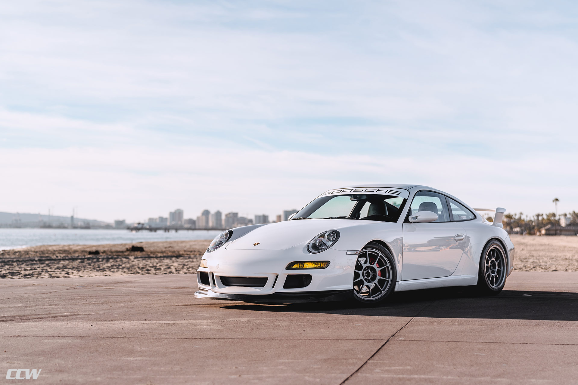 White Porsche 997 Carrera S - CCW C10 Wheels in Custom Gray