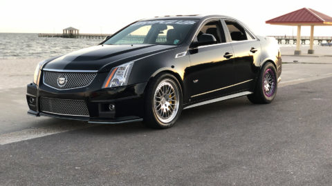 Black Cadillac CTS-V Sedan - CCW Classic Beadlock Wheels in Polished with Polished Purple Beadlock Ring