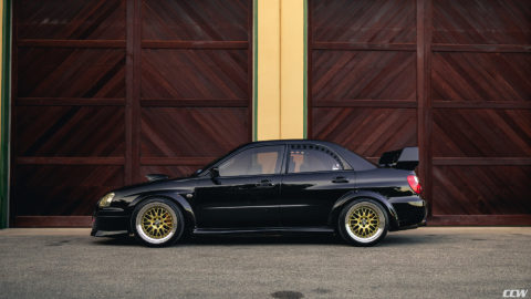 Black Blob Eye Subaru WRX - CCW LM20 Wheels in Gold w/ Polished Lip